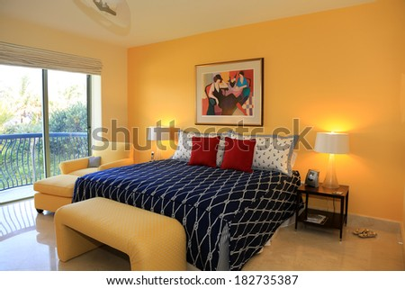 Inviting upscale guest room - stock photo