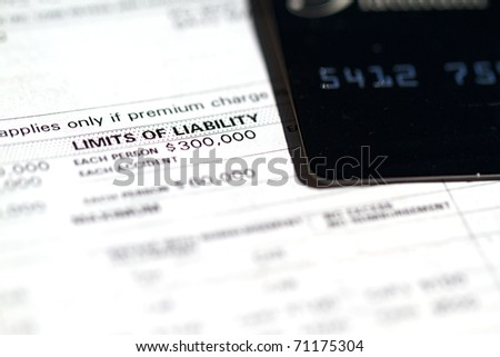 Invoice disclosure form showing liability and deductible for cars - stock photo