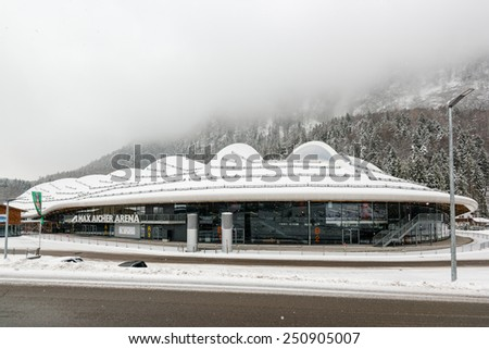INZELL, GERMANY - JANUARY 24, 2015: The Max Aicher Arena in Inzell, a large artificial ice stadium featuring a 400 meters ice skating rink and an icehockey area in the inside hosting up to 6000 - stock photo