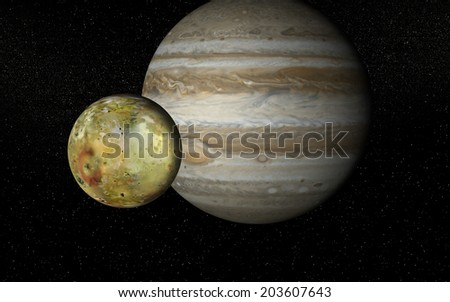 """Io and Jupiter """"Elements of this image furnished by NASA """" - stock photo"""