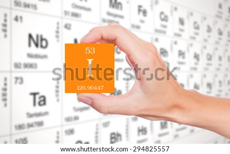 Iodine symbol handheld in front of the periodic table - stock photo