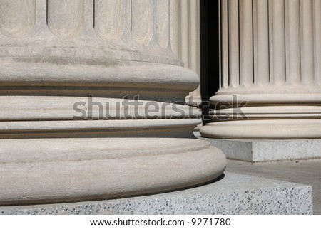 Ionic columns at the National Archive, Washington DC - stock photo
