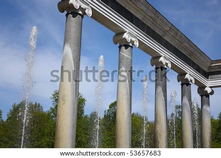 Ionic Columns fountain in Peterhof, Russia - stock photo