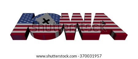 Iowa caucus flag text with vote illustration - stock photo