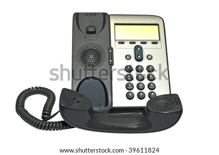 ip phone isolated on white - stock photo