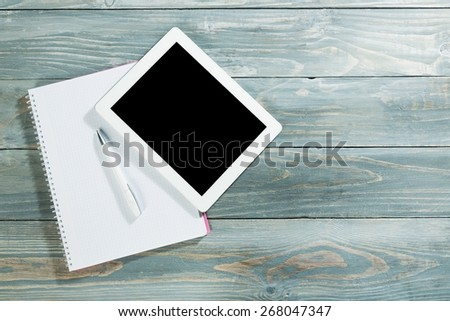 Ipad, desk, top. - stock photo