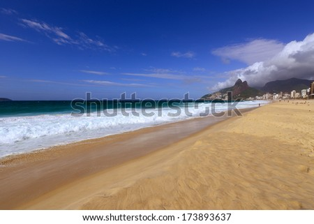 Ipanema Beach, one of the most famous beaches in Rio de Janeiro, Brazil - stock photo