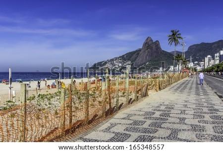 Ipanema beach sidewalk, Rio de Janeiro - Brazil - stock photo