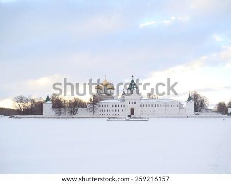 Ipatyevsky monastery-fortress on Volga River in winter, Russia - stock photo