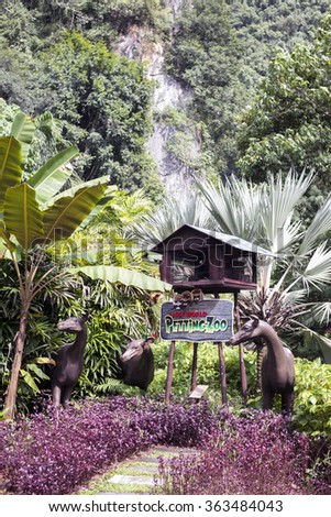 IPOH, PERAK, MALAYSIA - Dec 11, 2015 - The Petting Zoo is one of the mini theme park that is available inside the compound of The Lost World of Tambun - stock photo