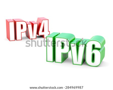 IPv4 and IPv6 - Internet Protocol version 6 and old version 4 - stock photo