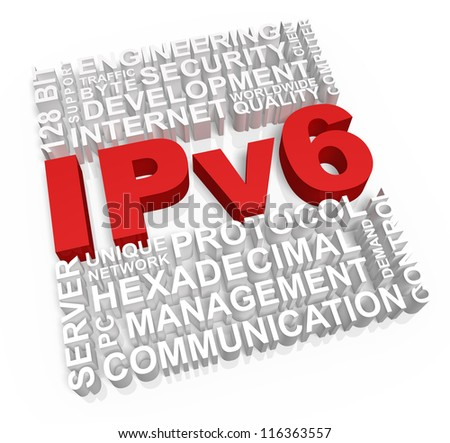 Ipv6 and related words on white background. - stock photo