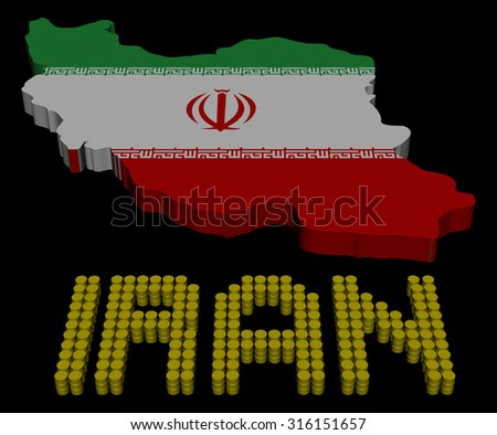 Iran barrel text with map flag illustration - stock photo