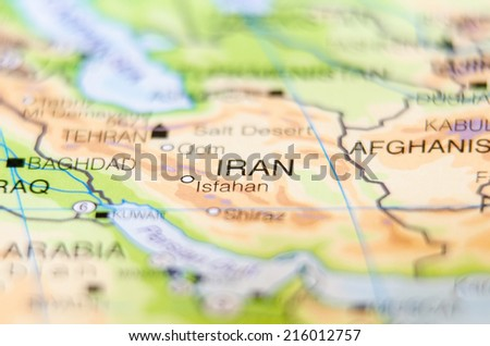 iran country on map - stock photo