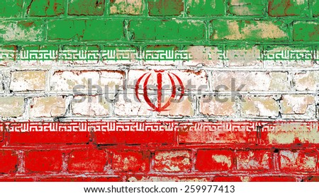 Iran flag painted on old brick wall texture background - stock photo