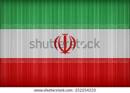 Iran flag pattern on the fabric curtain,vintage style - stock photo