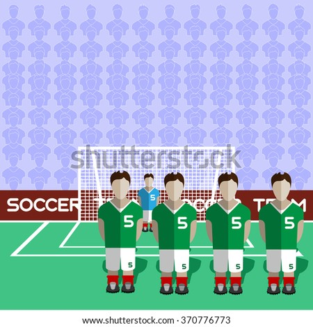 Iran Football Club Soccer Players Silhouettes. Computer game Soccer team players big set. Sports infographic. Football Teams in Flat Style. Goalkeeper Standing in a Goal. Raster illustration. - stock photo