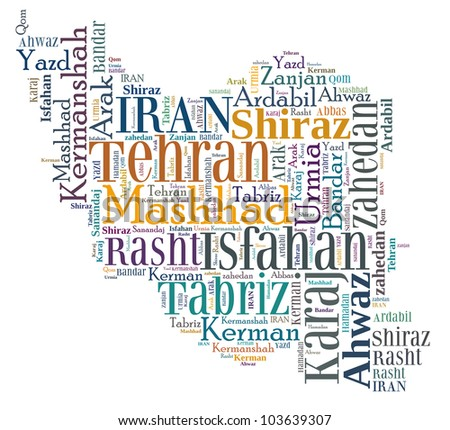 Iran map and words cloud with larger cities - stock photo