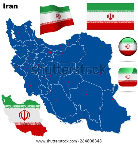 Iran set. Detailed country shape with region borders, flags and icons isolated on white background. - stock photo