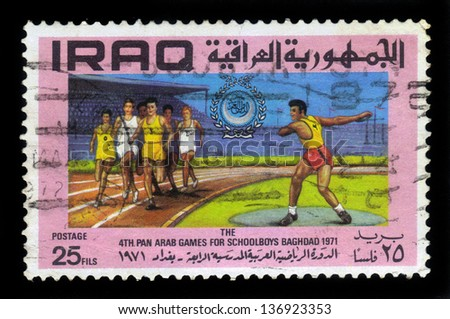 IRAQ - CIRCA 1971: A stamp printed in Iraq shows track and field athletes, honoring 4th pan arab games for schoolboys in Baghdad, circa 1971 - stock photo