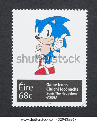 IRELAND - CIRCA 2014: a postage stamp printed in Ireland showing an image of Sonic a video game character, circa 2014.  - stock photo