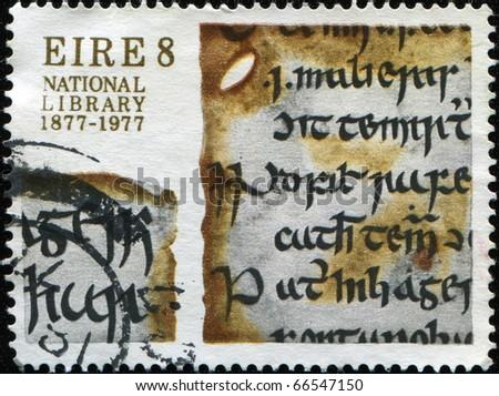 IRELAND - CIRCA 1977: A stamp printed in Ireland honoring National Library of Ireland, circa 1977 - stock photo