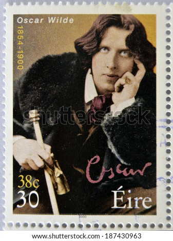 IRELAND - CIRCA 2000: a stamp printed in Ireland shows an image of Oscar Wilde, circa 2000. - stock photo