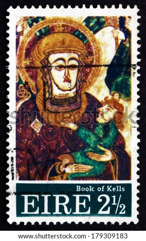 IRELAND - CIRCA 1972: a stamp printed in the Ireland shows Madonna and Child, Christmas, the Design is after a Miniature in the Book of Kells, 9th Century, circa 1972 - stock photo