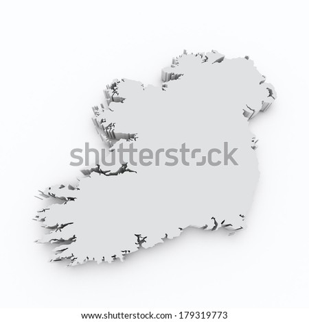ireland 3d map on white isolated - stock photo