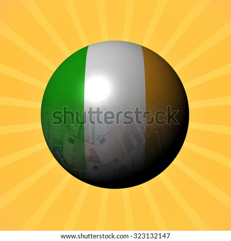 Ireland flag euros sphere on sunburst illustration - stock photo