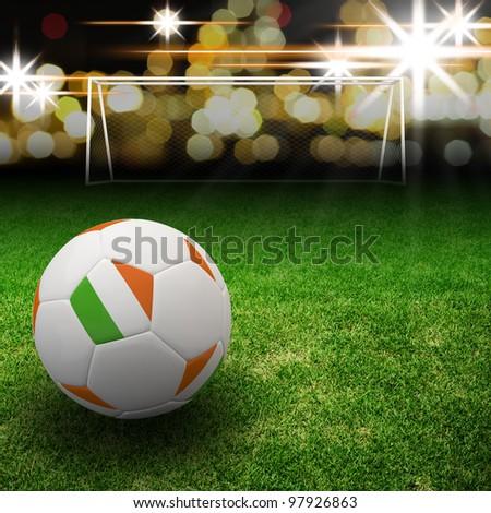 Ireland flag on 3d football for Euro 2012 Group C - stock photo