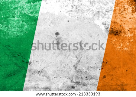 Ireland Flag with a vintage and old look - stock photo