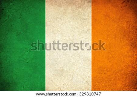 Ireland grunge flag illustration of european country - stock photo