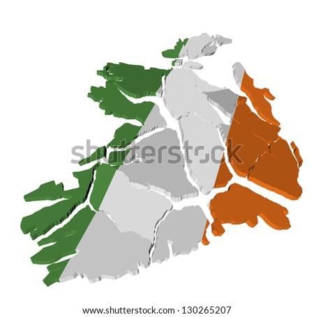 Ireland map cracked, conceptual representation of national crisis - stock photo