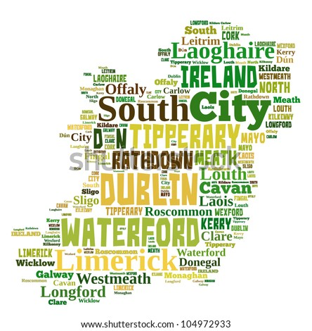 IRELAND map words cloud of major cities with a white background - stock photo