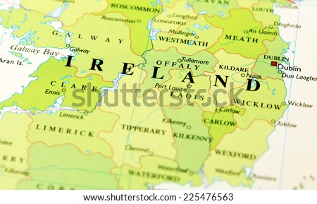 Ireland on atlas world map - stock photo