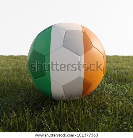 ireland soccer ball isolated on grass - stock photo