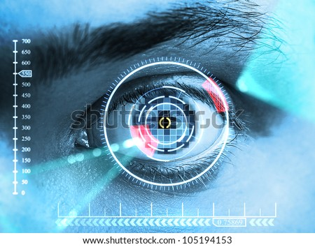 iris scan security - stock photo