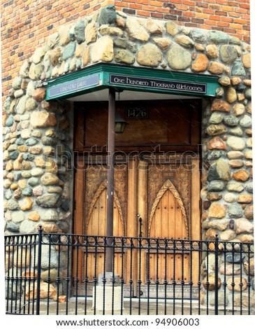 Irish church door in Corktown, Detroit - stock photo