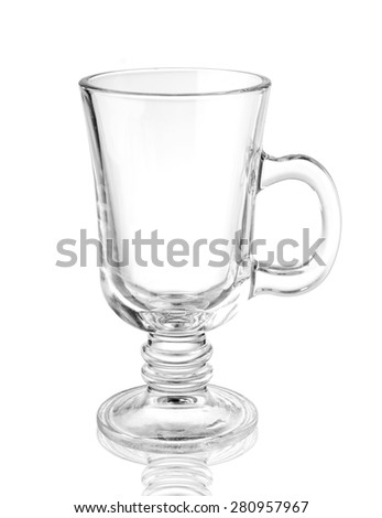 Irish coffee glass isolated on white - stock photo