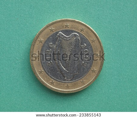Irish Euro coin from Ireland Currency of the European Union - stock photo