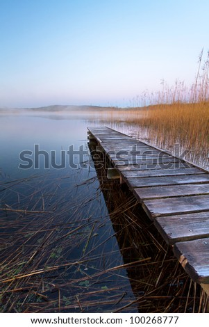 Irish lake before sunrise - stock photo
