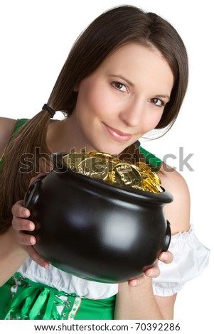 Irish pot of gold woman - stock photo