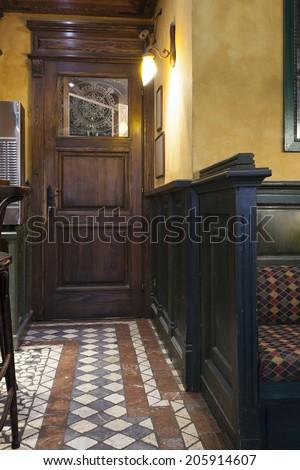 Irish pub interior - entrance - stock photo
