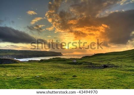 Irish sunset - stock photo