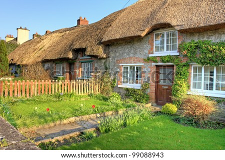 Irish traditional cottage house in Adare - Ireland. - stock photo