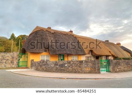 Irish traditional cottage house of Adare - stock photo