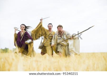 Irish warriors. Historical - stock photo