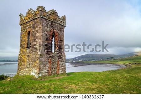 Irish watch tower over Dingle Bay - Co. Kerry - stock photo