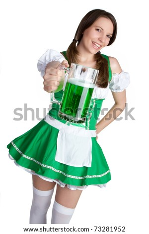 Irish woman holding green beer - stock photo